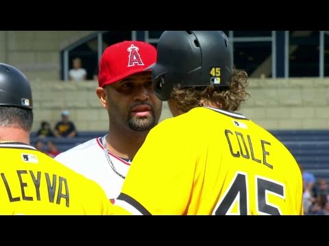 LAA@PIT: Cole and Pujols exchange words at first base