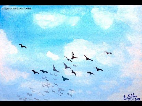 Cel mai simplu mod de a picta cerul cu acuarele