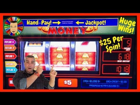 💥$25 Per Spin Jackpot Handpay On Monopoly Money Bags Slot💥