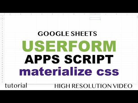 Google Sheets - Userform