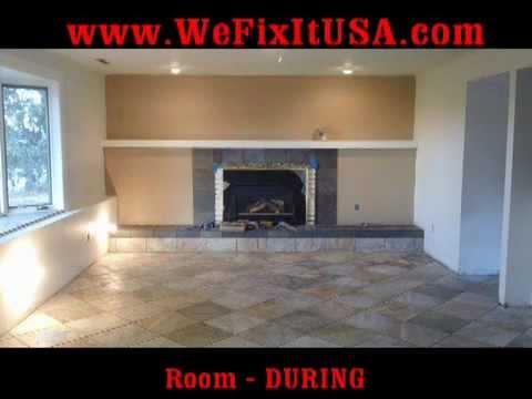 Basement Finish Colorado Springs Tile Floors Bathroom Remodel Fireplace Hearth Mantle