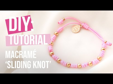 Handmade jewellery: Macramé bead cord weaving with a straw ♡ DIY