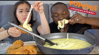 EXTREMELY STRETCHY CHEESE &amp CRUNCHY FRIED CHICKEN (POPEYES)  EATING SOUNDS &amp MUKBANG