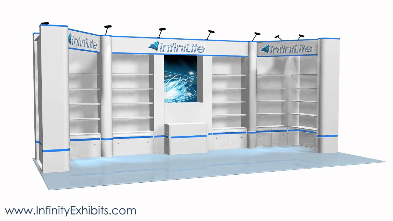 Trade Show Booth With Shelves : Ft multi section shelf and graphics trade show display