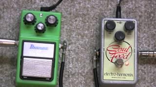 ibanez tube screamer ts 9 vs electro harmonix soul food overdrive pedal shootout