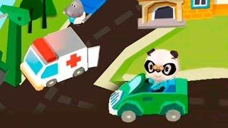 Мультики для детей Панда и машинки: Скорая помощь Полицейская и пожарная машина. Видео для детей.
