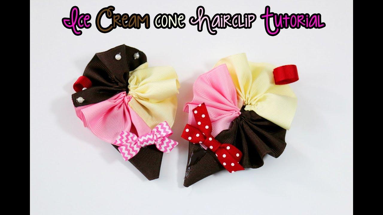 Ice Cream Hair Clip Ice Cream Bow Headband Ice Cream Pink Bow 3 Tier Bow Ice Cream Bow Hair Clip Ice Cream Headband Ice Cream Bow