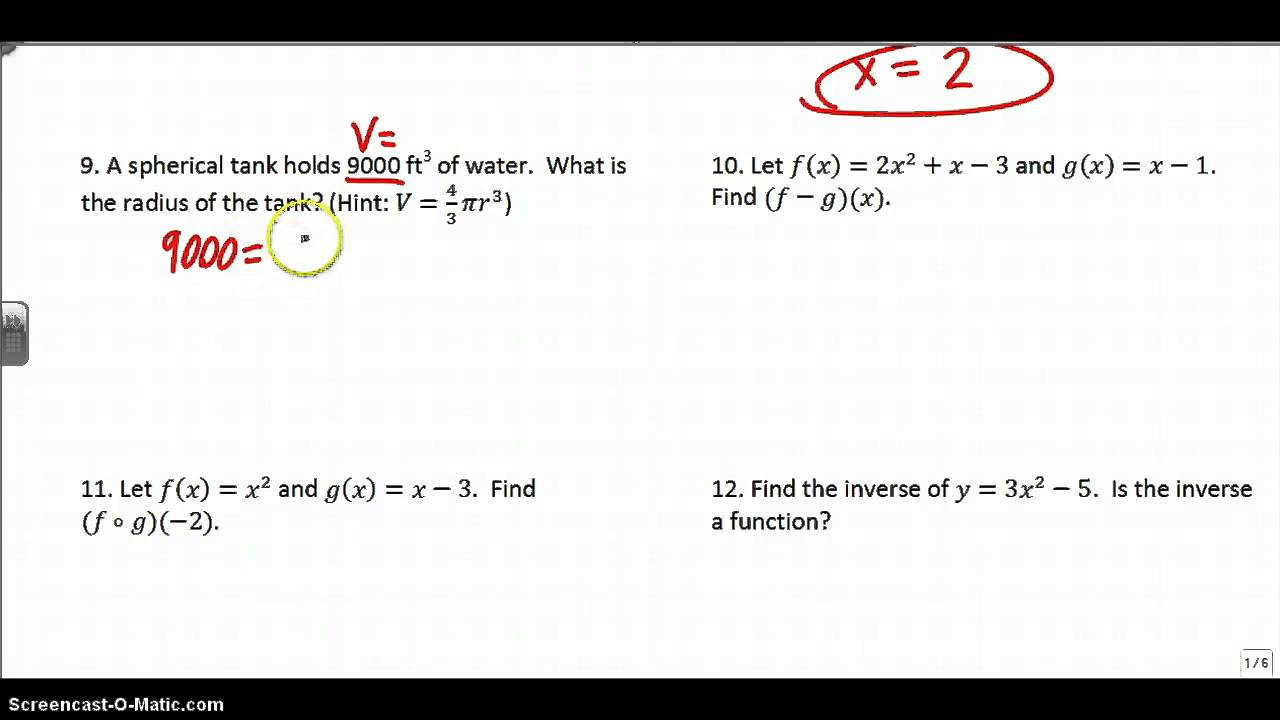 Algebra 2 Final Exam Review Part 1