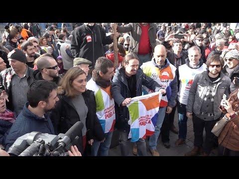 Pablo Iglesias y otros miembros de Podemos acompañan a los afectados por el ERE #4AñosSinTelemadrid
