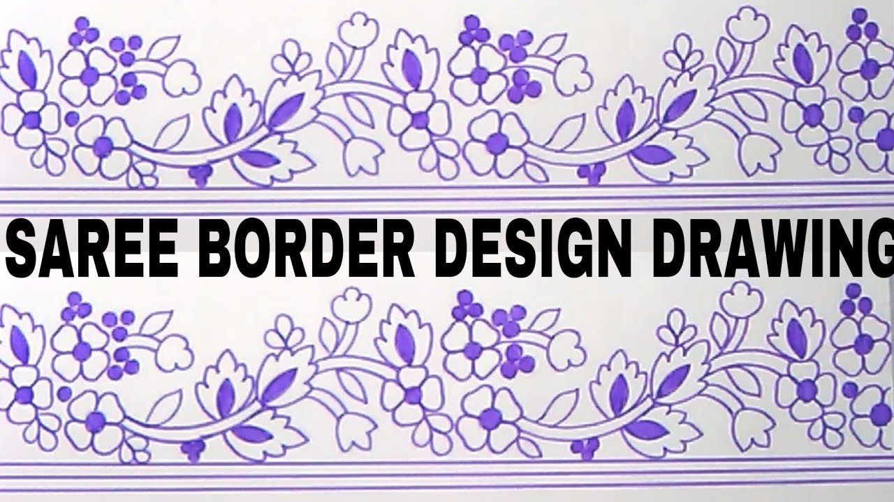 Free Hand Embroidery Saree Border Designs Draw On Tracing Pepper