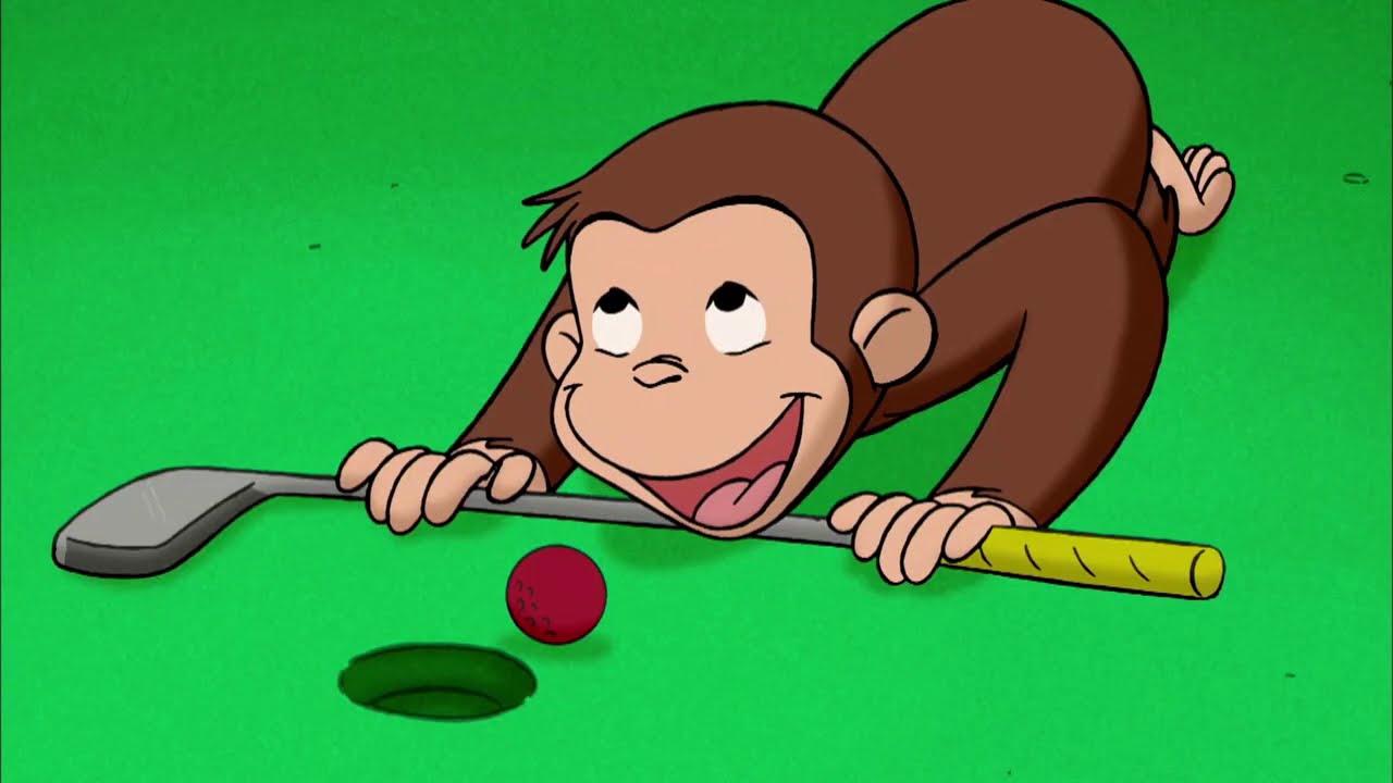 ゴルフをする 🐵 おさるのジョージ 🐵ゴールドクラブは重い