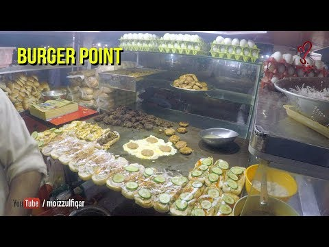 Akram Burger point - Bun Kabab at Liaqatabad Street Food of Karachi Pakistan