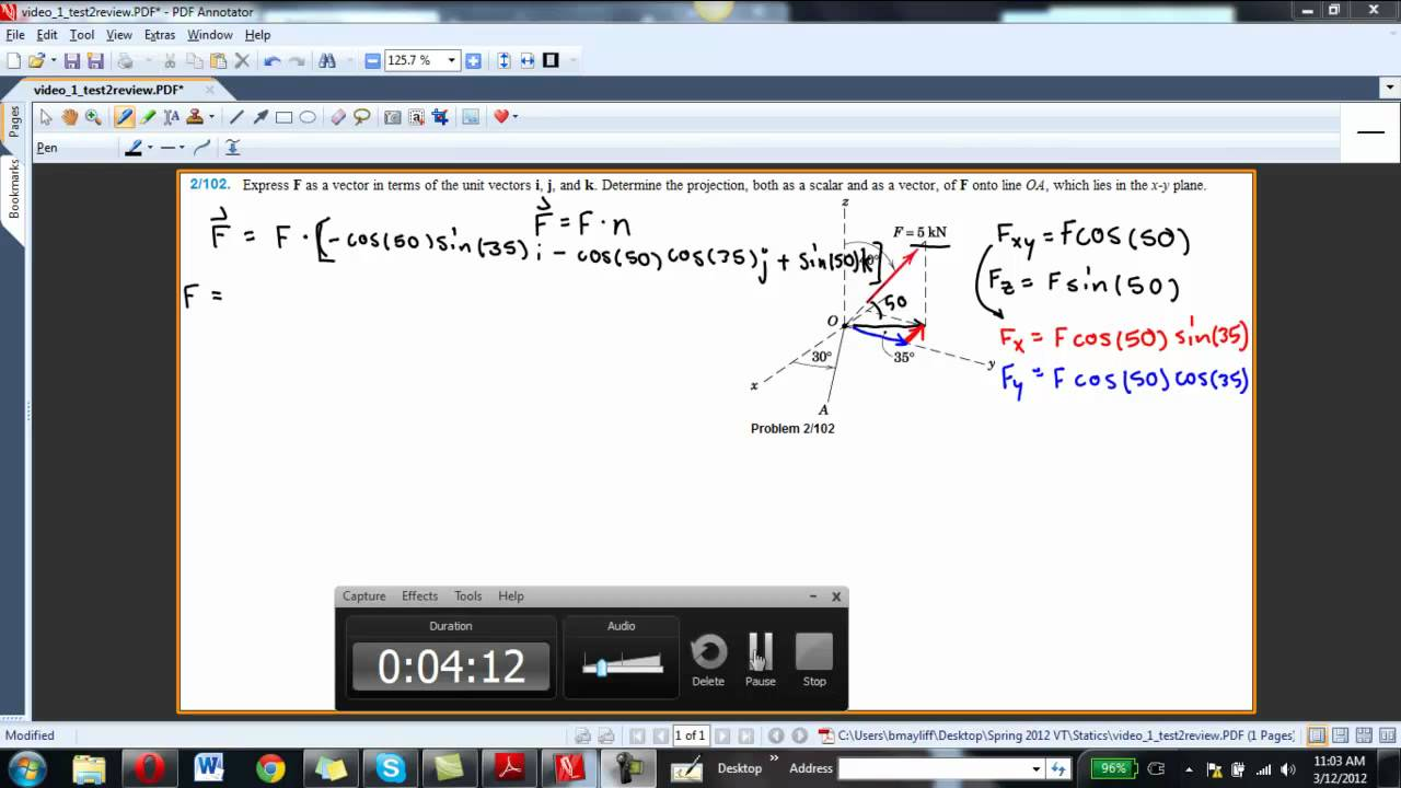 Force Systems in 3D - Unit vector and Projection Problem