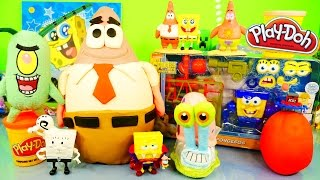 GIANT Play Doh Patrick Spongebob Squarepants Surprise Eggs Toys Unboxing DCTC Playdough Videos