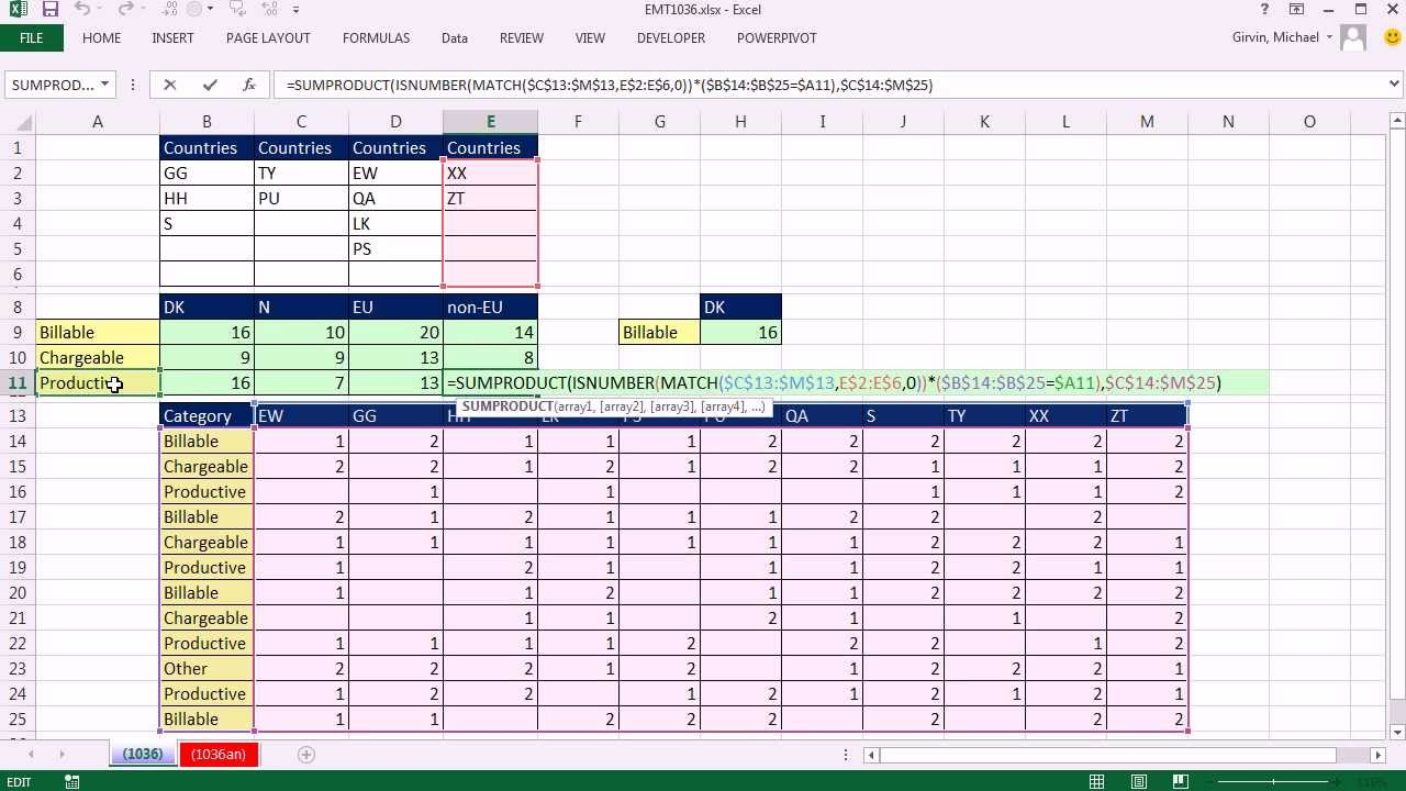 Excel Magic Trick Sum Rectangular Table 1 Condition