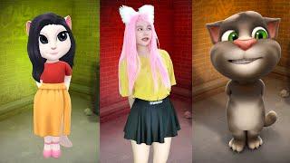 Imitate Angela & Talking Tom & Talking Angela - My Talking Tom VS My Talking Angela Real lIfe screenshot 1