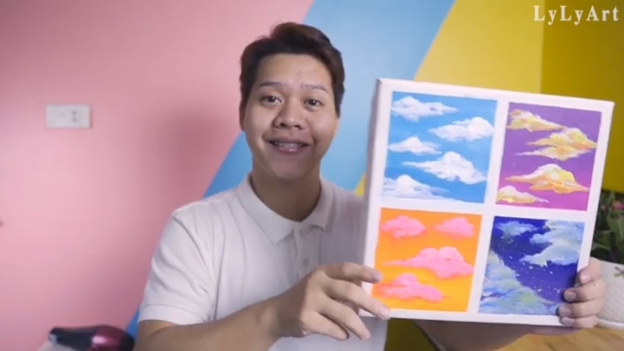 4 Type Of Drawing Clouds|Easy & Simple Acrylic Painting Step by Step For Beginners