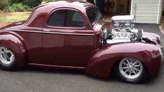 Blown Willys Coupe idling