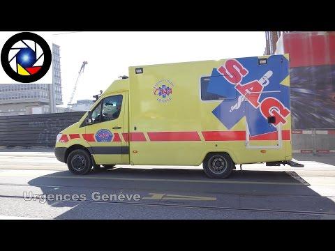 Ambulance 872 Genève // Geneva ambulance responding