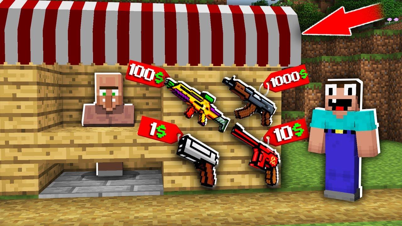 Minecraft NOOB vs PRO: WHICH RAREST GUN BOUGHT NOOB IN SHOP FOR 1000$ VS 100$ VS 10$ VS 1$?trolling