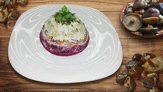 Грибы под шубой: вкусный салат