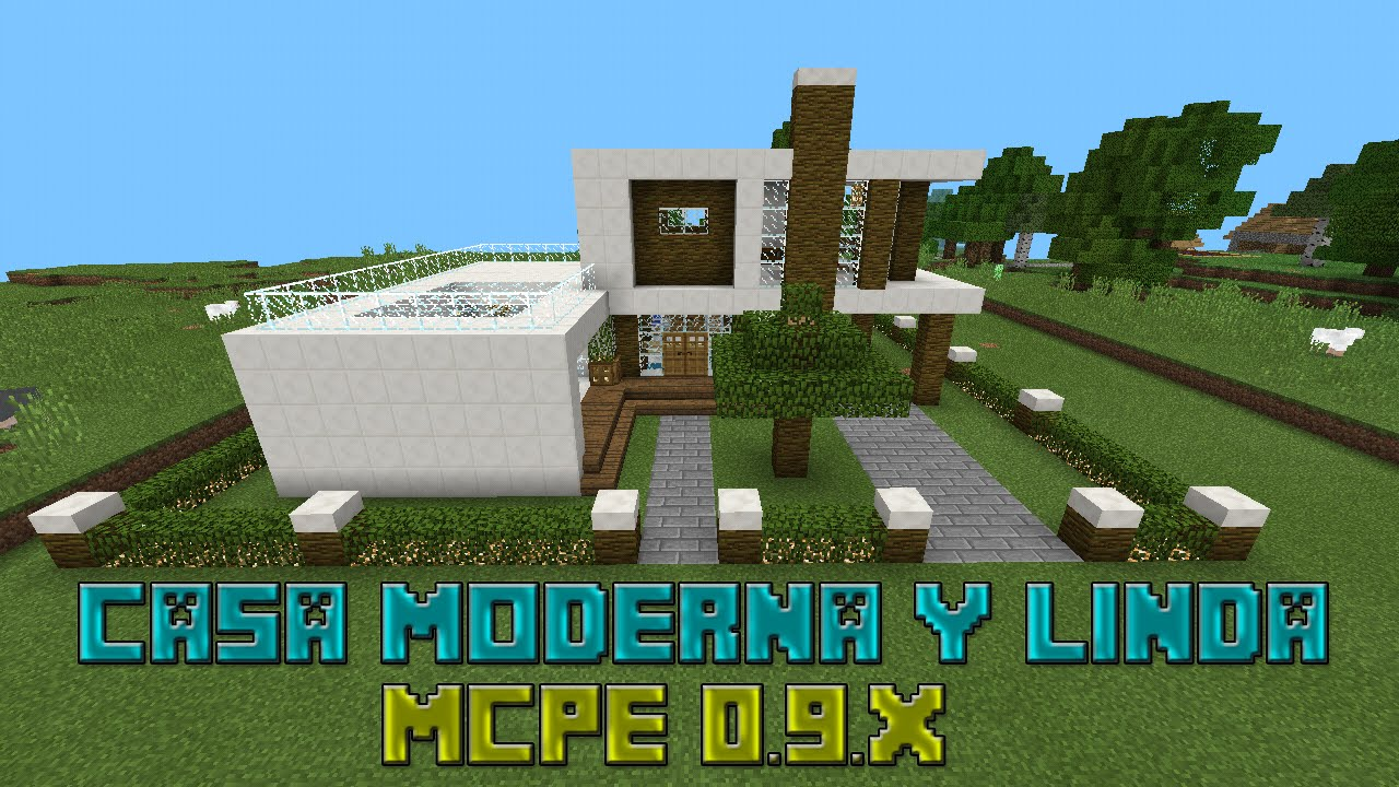 Casa moderna y linda 1 minecraft pe desc youtube for Casa moderna minecraft 0 12 1