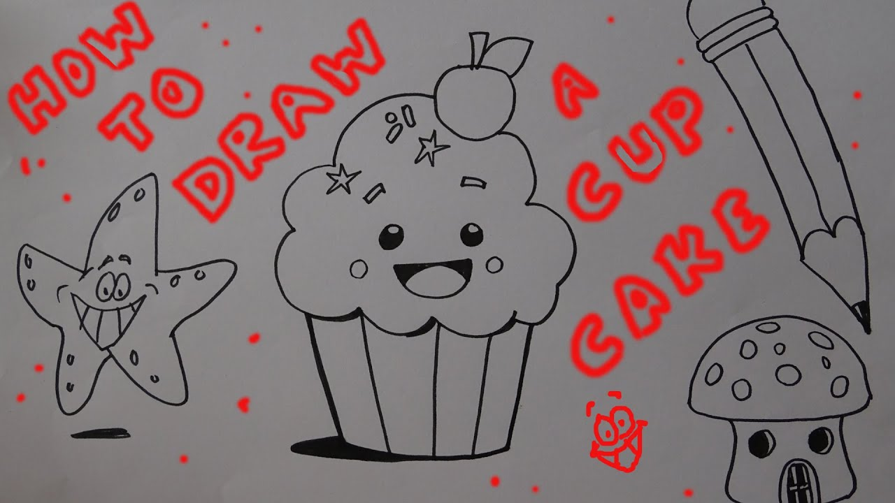 How to draw a Cup Cake step by step for kids - YouTube for Drawing Cake Step Step  300lyp