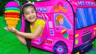 Hana & Tony Pretend Play w/ Ice Cream Food Truck Tent Toys