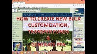 PFMS: TRANSFER FUNDS, CREATE NEW BULK CUSTOMIZATION