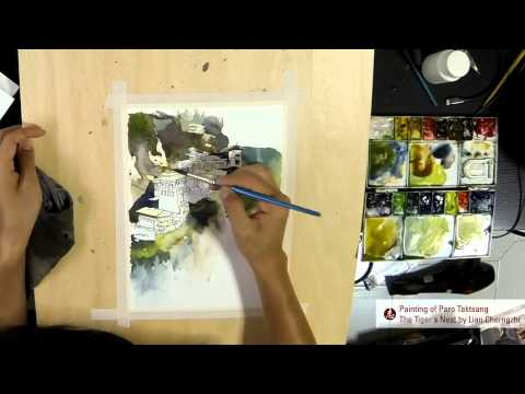Watercolor Paintings of Tiger's Nest (Paro Taktsang)