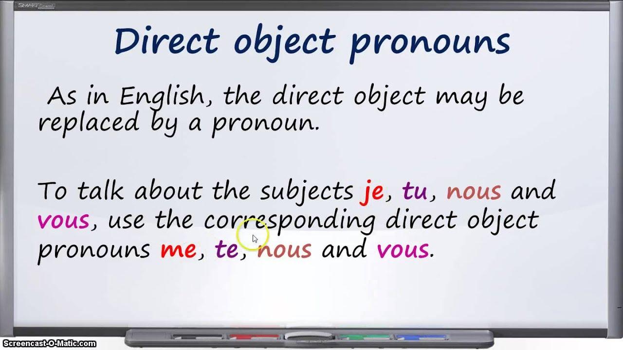 French Direct Object Pronoun Me Te Nous Vous