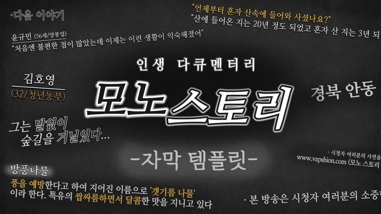 [다큐 자막 템플릿] 모노 스토리 자막 템플릿(뱁믹스, 뱁션, 뱁포토 사용가능)