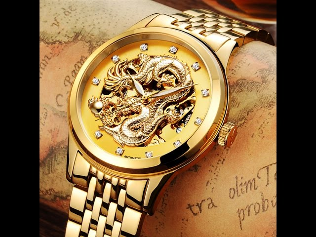 PVD gold plated automatic dragon watch