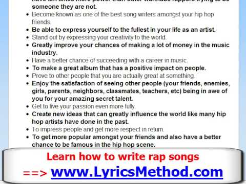 How to Write a Rap Song - Learn To Write Rap Lyrics Tips ...