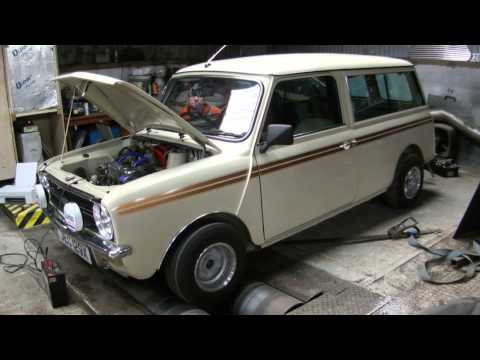 Mini estate Dyno run at the Rev shed Engineering workshop 6th july 2014