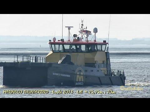 offshore crew speedboat MARINECO THUNDERBIRD 2FMX4 IMO 9657894 Emden catamaran