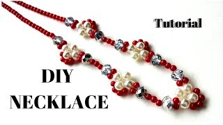 Easy diy beading pearl necklace tutorial . Red color necklace. DIY handmade necklace
