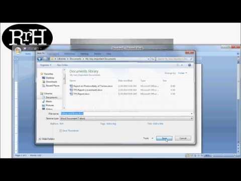 How to Save and Open a Word Document in Windows 7/Word 2010 Tutorial