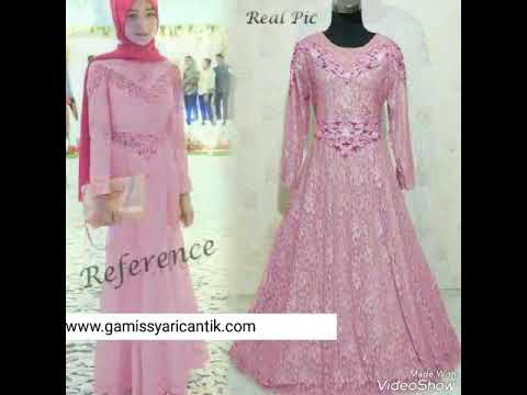 Model Baju Gamis Pesta Brokat 081213381472 Youtube