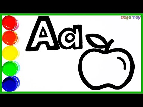 glitter-alphabet-a-and-apple-coloring-and-drawing-for-kids-toddlers|the-picture-moves|oops-toy-art★