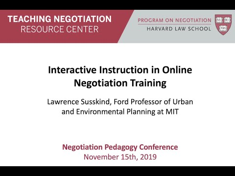 Interactive Instruction in Online Training: 2019 Negotiation Pedagogy Conference