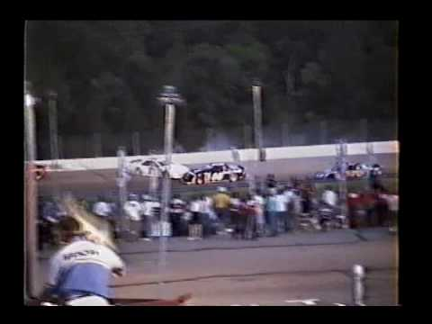 Stock car crash - 1994 ASA Tuffy 250 at Tri-City Spwy - Sommers spins Cooper