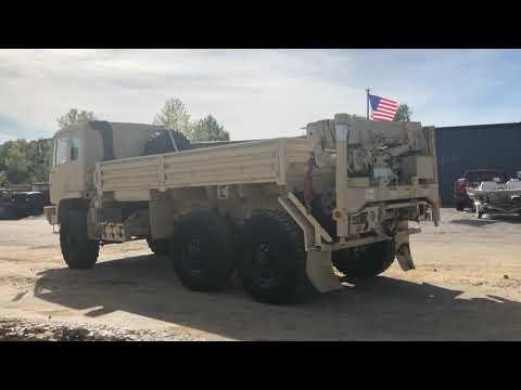 FOR SALE STEWART & STEVENSON M1084 6X6 5 TON CARGO TRUCK WITH REAR MATERIAL HANDLING CRANE