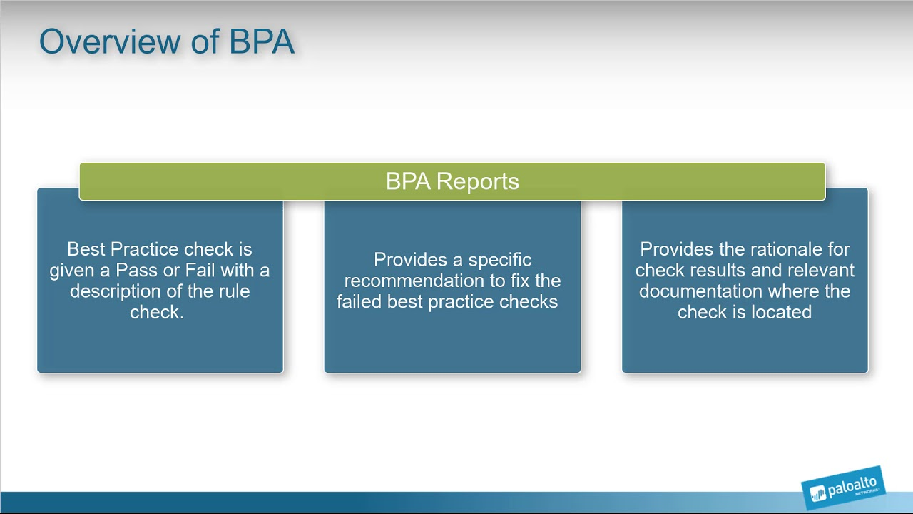 Palo Alto Networks BPA - Overview of BPA (Best Practice Assessment) tool