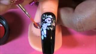 Vintage Rose Matte Nail Design. Thumbnail