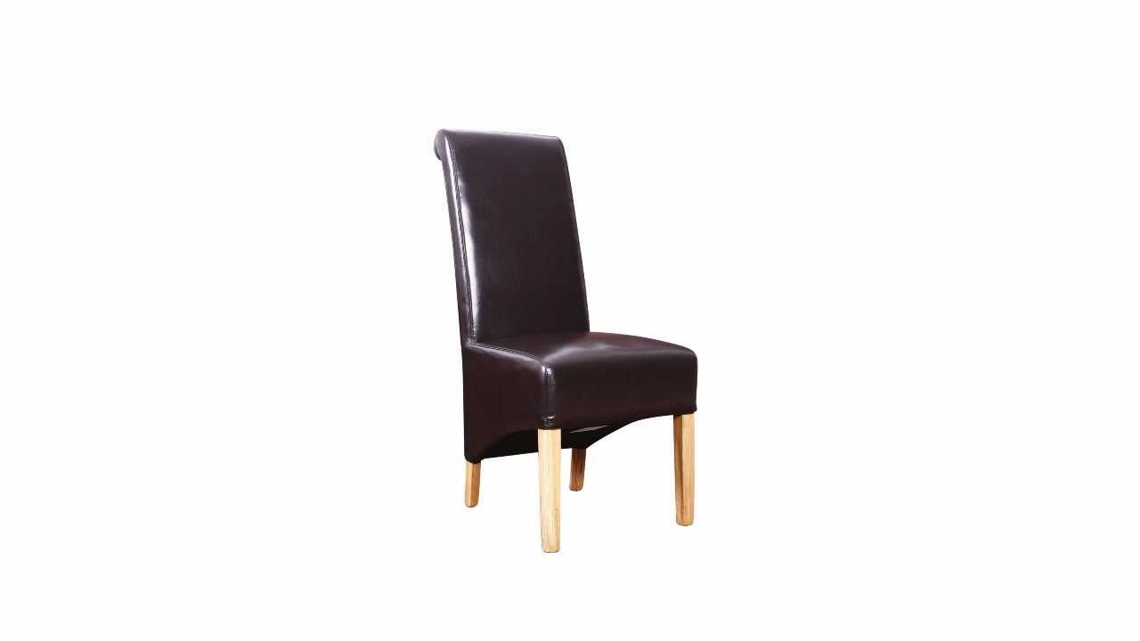 Furnisho Scroll Back Real Leather Dining Chairs Oak