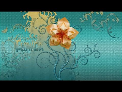 5 Petals Origami Flower (Alexandra Abovyan). Flower in the art Modular Origami