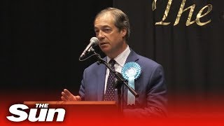 Nigel Farage speaks after winning a seat for The Brexit Party in the European Parliament thumbnail