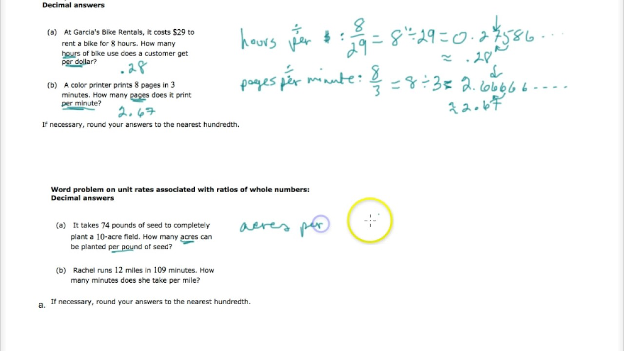 worksheet Unit Rate Word Problems solving word problems with unit rates part 1 youtube 1