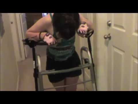Young Woman with cerebral palsy walking